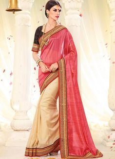 Lace Border Work Lovely Pink and Cream Colour Half and Half Party Wear Saree