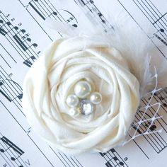 Can do mustard yellow! Wedding+Hair+Flower+in+Ivory+Vintage+Wedding+by+KrumpetsDesigns,+$15.00