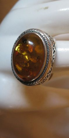 Vintage Baltic Amber With Bits of Life 925 by ExcellentHodgePodge, $30.00