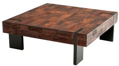 Coffee Table, scrap/reclaimed wood. Also found with silver-tone metal legs instead of black.