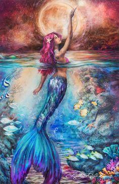 """Moonlit Siren"" Paint Texture Print #OilPaintingTexture"