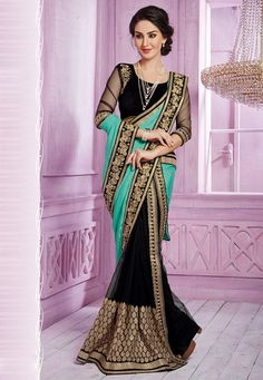 Teal #Green and Black Faux Satin Chiffon and Net #Saree with Blouse