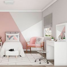 House Interior Painting - Create The Luxurious House « mistertekno. Bedroom Wall Designs, Room Design Bedroom, Room Ideas Bedroom, Home Room Design, Small Room Bedroom, Bedroom Colors, Girls Room Design, Modern Bedroom, Girl Bedroom Walls