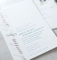Oakville letterpress and foil stamped wedding invitation by @Dauphine Press in Teal blue ink & Reflective Silver Foil