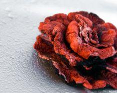 Flower brooch - red big rose pin - Wedding flower brooch