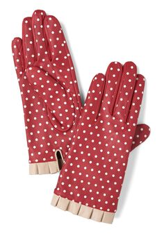 Handshake It Up Gloves by Alice Hannah London - Leather, Red, Tan / Cream, Polka Dots, Pleats, Winter, Holiday Party