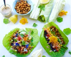 Cabbage wraps with spicy chickpeas and tahini dressing