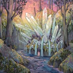 Everywhere in land glowing crystals grow on the ground. The so-called Shí'krim are crystallized energy from the world. The Elvastroniri use them to run technology and create powerful magical spells, or just to light rooms.