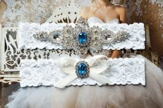 Aqua Blue Wedding Garter Crystal Bridal Garter by HelensCouture