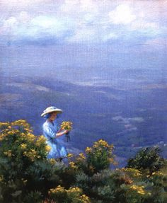 The Athenaeum -Blue Hills and Goldenrod (also known as Gathering Golden Rod) Charles Courtney Curran - 1911 Painting - oil on canvas Height: 22.86 cm (9 in.), Width: 17.78 cm (7 in.)