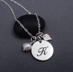 Letter K Necklace Sterling Silver Initial K by themoonflowerstudio