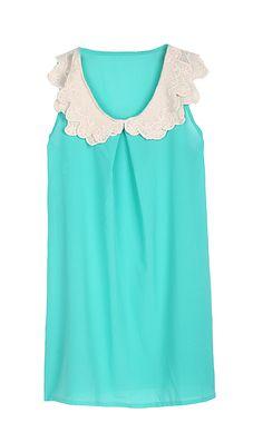 Green Crochet Collar Sleeveless Shift Dress US$21.64