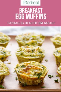 Healthy Egg Muffins with fluffy eggs, vegetables and cheese. Make ahead and freezer friendly breakfast on-the-go. #ifoodreal #cleaneating #healthy #recipe #egg #breakfast #vegetables