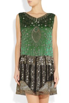 Beautifully embroidered with mint-green beads and gold French lace, One Vintage's emerald silk-chiffon 'Valeri' dress is adorned with panels of shining silver sequins... elegant 1940s glamour.