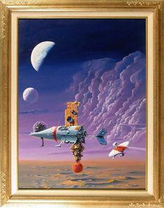 "sci fi book cover art | DEXTER DICKINSON - ""ENCOUNTER"" SCI-FI COVER PAINTING - Lewis Wayne ..."