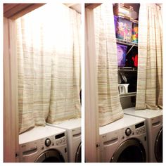 Hide your laundry room clutter with a curtain!   Overworkedsupermom.com