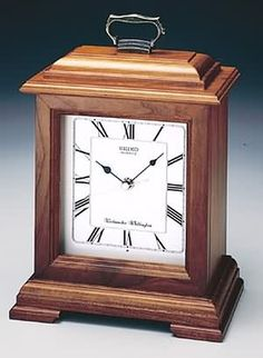 Seiko Mantel Chime Carriage Clock Cherry Finish Solid Wood Case The sophisticated Seiko Mantel Chime Carriage Clock beautifully complements your home with a Tabletop Clocks, Mantel Clocks, Wood Clocks, Antique Clocks, Large Wooden Clock, Wooden Mantel, Wooden Desk, Clock Painting, Classic Clocks