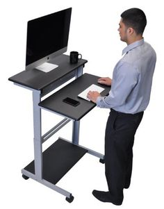 Dark Walnut Shelves Mobile Ergonomic Stand Up Desk Computer Workstation With this affordable stand up computer desk its easy to achieve long lasting health Computer Stand For Desk, Sit Stand Workstation, Computer Workstation, Sit Stand Desk, Frame Stand, Walnut Shelves, Black Shelves, Mobiles, Best Standing Desk