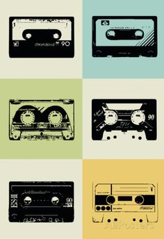 Art Print: Cassette Tapes Poster by NaxArt : Cassette Tape Art, Poster Prints, Art Prints, Poster Poster, Cool Posters, Mixtape, Vintage Posters, Graphic Art, Art Decor