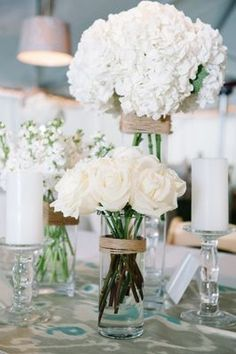 White hydrangea and rose wedding bouquets {Photo by Dear Wesleyann via Project Wedding}