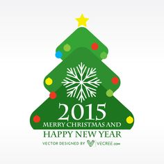 Happy New Year In Christmas Tree Free Vector #happynewyear #design #vecree #free #2015