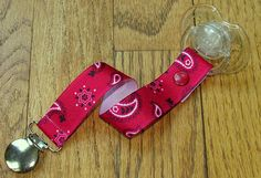 Soothie / Pacifier Clip  Western Red Bandana by classypaci on Etsy, $3.75