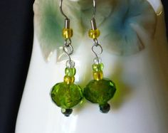 Green crystal with yellow glass bead earrings - Edit Listing - Etsy