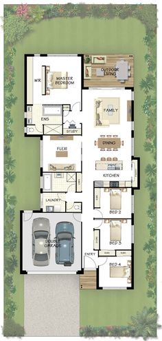 Coral Homes :: Avoca Series features 1 extra bedroom, move bathroom to bed side, keep flex room 4 Bedroom House Plans, Dream House Plans, House Floor Plans, Bedroom Layouts, House Layouts, Bathroom Layout Plans, Narrow House Plans, Long House, Facade House