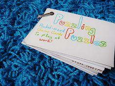 Make puzzle game cards - for kids in the car or for daddy at work!