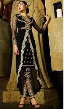 Georgette Fabric Black Color Straight Cut Style Stitched Narrow Pants Suit with Dupatta | FH446970328