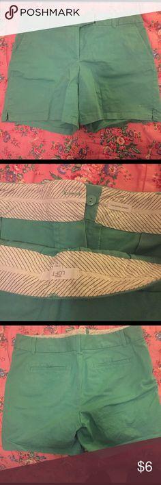 LOFT Green Riviera Short Comfy green shorts with hook front. 97% cotton and 3% spandex. LOFT Shorts