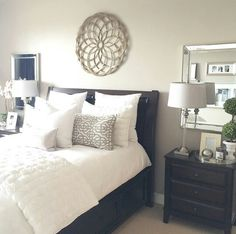 Master bedroom mirror ideas love the mirrors behind the nightstands diy home decorations for cheap Master Bedroom Nightstand, Home Decor Bedroom, Home Decor Inspiration, Bed Decor, Home Bedroom, Home Decor Styles, Master Bedrooms Decor, Bedroom Night Stands, Remodel Bedroom