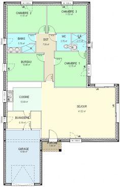Surface habitable : 122 m²   Surface séjour: 41 m² Surface cuisine: 10,68 m² Surface chambre 1: 12,15 m² Surface chambre 2: 11,50 m² Surface chambre 3: 11,50 m² Surface bureau: 10,90 m² Surface buanderie: 6,20 m²   Surface garage:18,80 m²