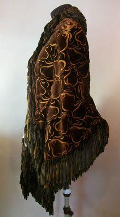 Victorian mantle, burnout velvet, chenille fringe