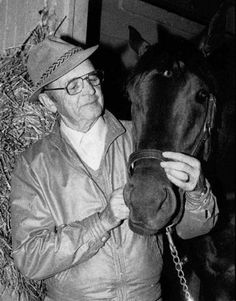 """Hall of Fame trainer Woodford Cefis """"Woody"""" Stephens died on August 1988 in Miami Lakes, Florida. He was Photo Courtesy of The Associated Press Conquistador, The Belmont Stakes, Harness Racing, Thoroughbred Horse, Horse Racing, Woody, Equestrian, Trainers, Horses"""