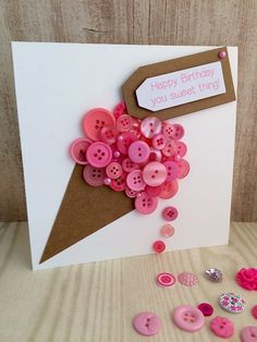 Handmade Button Yummy Ice Cream Card by TillyJaneCards on Etsy