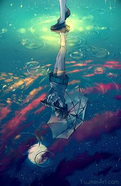 The Sky Beneath My Feet - Wonderful perspective on this digital paint by Yuumei.  The sky is seen through the reflection of the girl's feet where there is a puddle formed because of the rain.