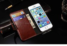 Classic Leather Stand Flip Front Back Cover Case Wallet Card for IPhone 5 5G 5S