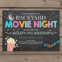 Movie Night Birthday Invitation Under the Stars invitation Outdoor Movie Party Popcorn stars Backyard Movie paty Digital Printable ANY AGE