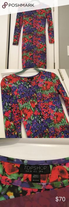 🎉SALE🎉Top shop floral long sleeve dress size US2 Top shop floral pattern long sleeve dress, new condition worn once size US 2 Topshop Dresses Midi