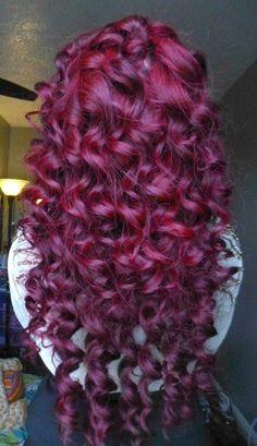 Curly burgundy hair