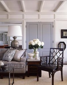 I'm in love with the grey doors! And I like how the trim is a different shade of white