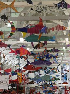 Art project by students in primary grades in Saint John NB district schools. Fish are on display in the city market.