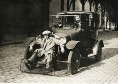 Car with shovel for pedestrians  Invented for the purpose of 'reducing the number of casualties among pedestrians;' Paris, 1924