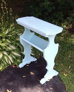 tiff blue shabby chic vintage side table/night stand/with book trough