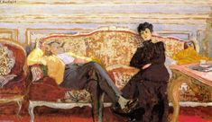 M. and Mme Feydeau on a Sofa, Frescoes by Edouard Vuillard (1868-1940, France)