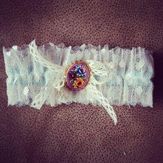 "Bridal Garter Floral Gold Vintage Jewelry Vintage by HOUSEofLOVELY, via Etsy. $48, ""something old"" + ""something blue"""