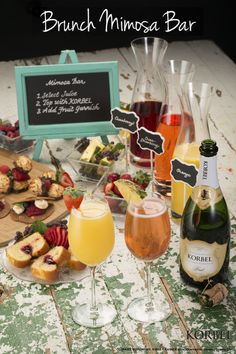 The long weekend is near! Whether your hosting a monthly brunch with friends, celebrating a blushing bride-to-be, or gathering family for a weekend get-together, make sure a make your own Mimosa Bar is involved. Guests can fill a Champagne Flute halfway with the juice of their choice and top with bubbly KORBEL.