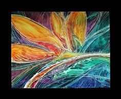 BIRD of PARADISE ABSTRACT BATIK on CANVAS by M BALDWIN Watercolor ~ 20 x 24