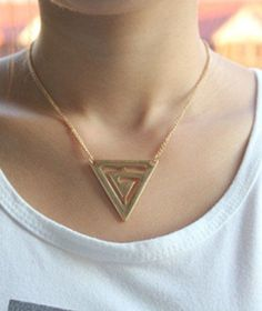 Mix minimum order $16, New arrival! metal hollow out gold triangle shape necklace on AliExpress.com. $1.55